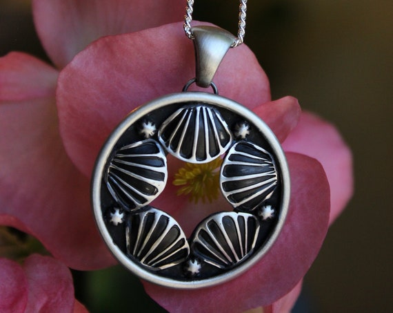 Expanse//Stamped Circle Necklace//Sterling Silver//18' Chain