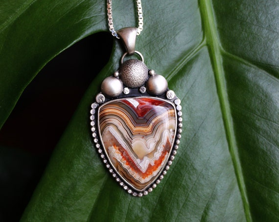 """Cosmic Space//Crazy Lace Agate//Cutout Necklace//18"""" Box Chain//Sterling Silver"""