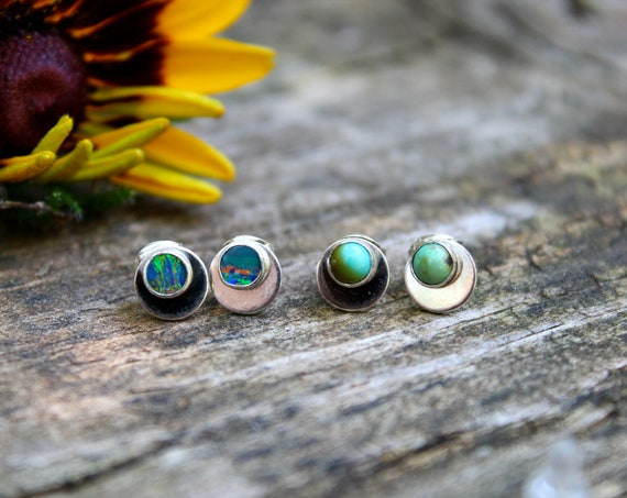 Eclipse Studs//Kingman Turquoise, Carico Lake Turquoise or Australian Opal Earrings//Sterling Silver