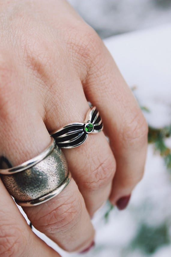 Jolene//Natural Chrome Diopside Sterling Silver Ring//Size 5.75-6//