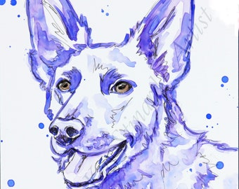 SALE!  BOGO Free  colorful pet portraits / mixed media on Yupo, ORIGINAL art from your photos