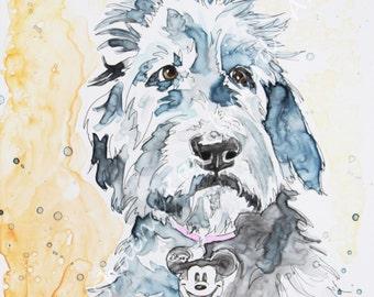 SALE!  40% OFF Original Watercolor Pet Portraits on YUPO / Labradoodle / Goldendoodle / 9 x 12 example