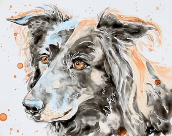 SALE!  50% OFF Custom Watercolor Portraits on YUPO paper/ Pets/Dogs/ Family/from your photo - 8 x 10 samples, from your photo