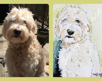 SALE!  50% OFF Custom Pet Portraits / Watercolor Sketch on YUPO/ 5 x 7 samples/ Goldendoodle/Labradoodle