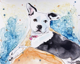 SALE!  50% OFF Custom Pet Portraits / Pitbull / 9 x 12 samples / mixed media portrait from your photos / Original paintings