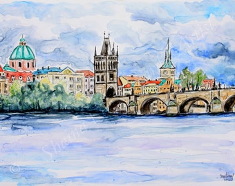 SALE!  50% OFF Custom Watercolor Travel Sketches / paintings from your photos / 11 x 14 Sample /mixed media on YUPO paper
