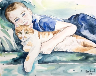 SALE!  50% off Custom Portraits/Watercolor on YUPO from a photo/ 8 x 10 two figure samples/ pets/ original art/ portraits