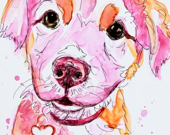 SALE!  Custom colorful PET sketches/5 x 7 /  mixed media on YUPO paper