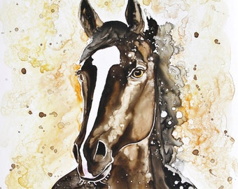 SALE!  50% OFF Custom Pet Portraits / watercolor on Yupo paper / 12 x 16 examples /horses / from your photos