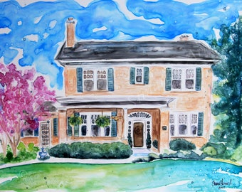 SALE!  50% OFF Custom Home Portraits - original watercolors from your photos