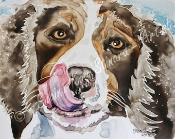 SALE!  50% OFF Custom Pet Portrait / watercolor on YUPO / Dogs / pets/ 8 x 10 samples, from your photos