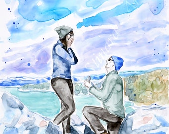 SALE!  50% OFF Custom Watercolor Paintings / Portraits / couples, engagements, weddings / 2 figure 8 x 10 example /from your photos