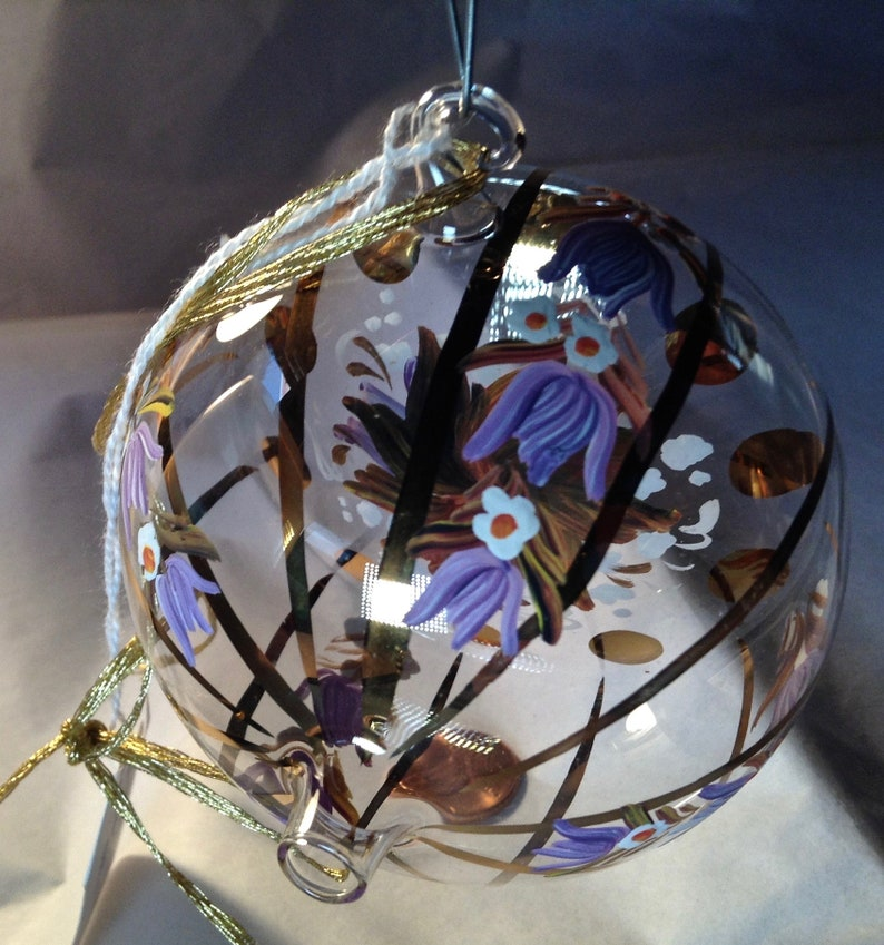 Austrian Folk Art Rare Vintage Hand Painted Glass Christmas Ornament Made in Austria Bohemian Holiday Decor