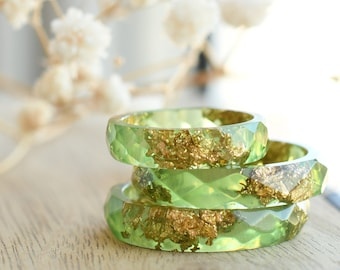 Light Green Resin Ring with Gold Flakes - Faceted Stacking Band Ring Made of Resin