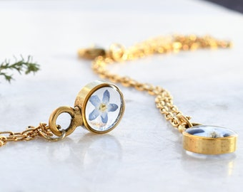 Mini Gold Terrarium Necklace With Forget Me Not Flower - Real Dried Flower Resin Necklace