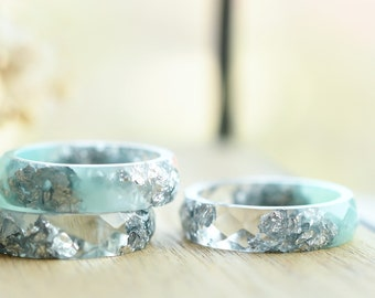 Mint and Transparent Resin Ring With Silver Flakes - Alternative Engagement Ring - Purity Ring - Resin Jewelry