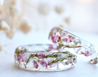 Real Heather Flower Resin Ring - Purity Ring for Her - Hypoallergenic Resin Jewelry
