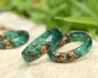 Jade Green Resin Ring With Copper Flakes - Hippie Ring - Unconventional Stacking Ring - Resin Jewelry