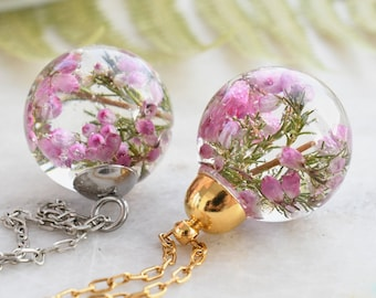 Dainty Pink Heather Necklace - Resin Sphere Pendant- Scottish Heather Resin Jewelry - Dried Flower Resin Jewelry