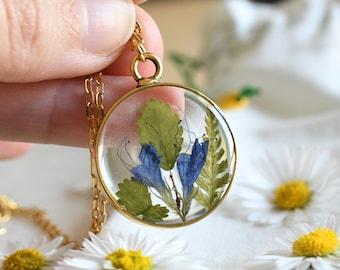 Viper's Bugloss Flower and Fern Terrarium Necklace - Real Pressed Flower Resin Necklace  - Resin Wedding Jewelry