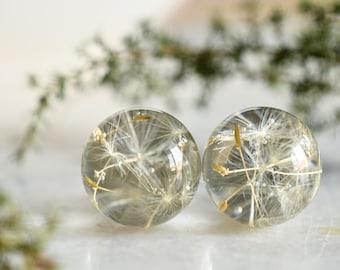 Make a Wish Stud Earrings - Dandelion Resin Jewelry - Dandelion Spheres Earrings