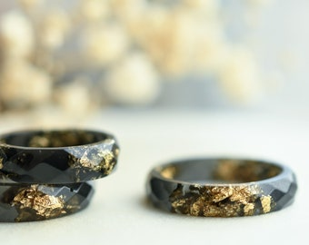 Black Resin Ring With Gold Flakes - Alternative Engagement Ring - Mens Ring