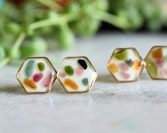 Colorful Tourmaline Chips Stud Earrings - Surgical Steel Post Earrings - Crystals Earrings - Resin Jewelry