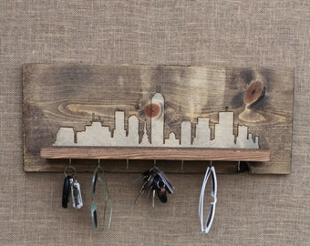 Wooden Entryway Shelf and Key Holder with Wood Burned City Skyline