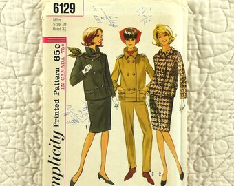 Skirt Pants Jacket, S, Simplicity 6129 Pattern, Suit, Slim, Side Zipper, Double Breasted, Lined, 1965 Uncut, Size 10