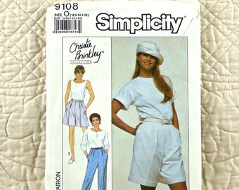 Pants Shorts, M L, Simplicity 9108 Pattern, Christie Brinkley, Pleated, Waistband, Left Pocket Opening, 1989 Uncut, Size 12 14 16