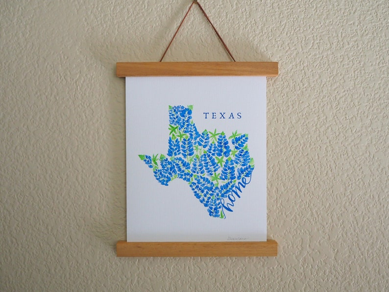 e091558f State Outline Texas Art Print - Texas Bluebonnets Home Decor Poster - Texas  Housewarming gift - Anniversary gift - Gift for her