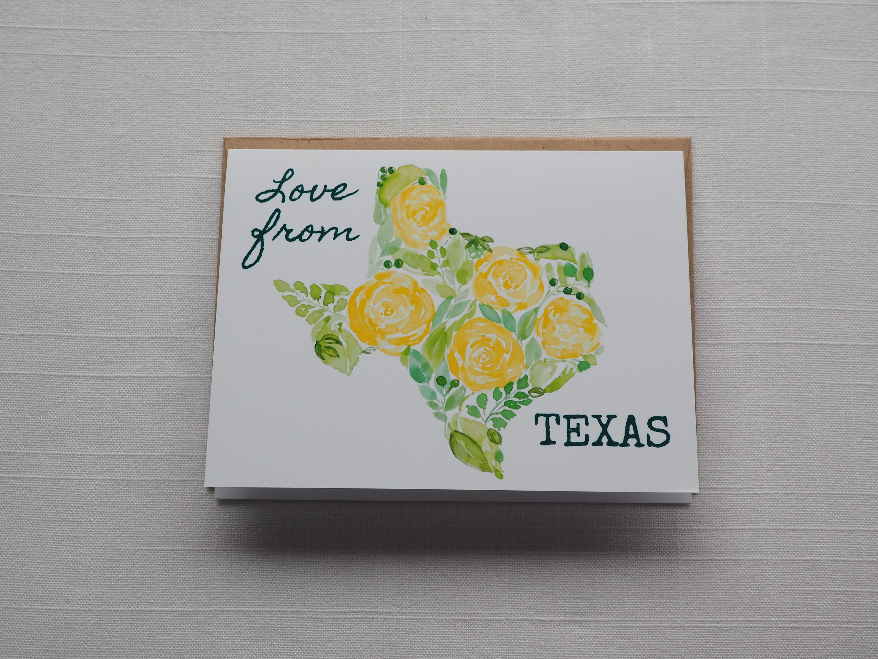 Texas Note Card Texas State Outline Art Card Handmade Etsy