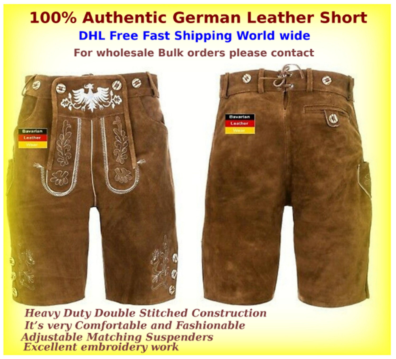 Oktoberfest German Bavarian Authentic leather  Bundhosen brown