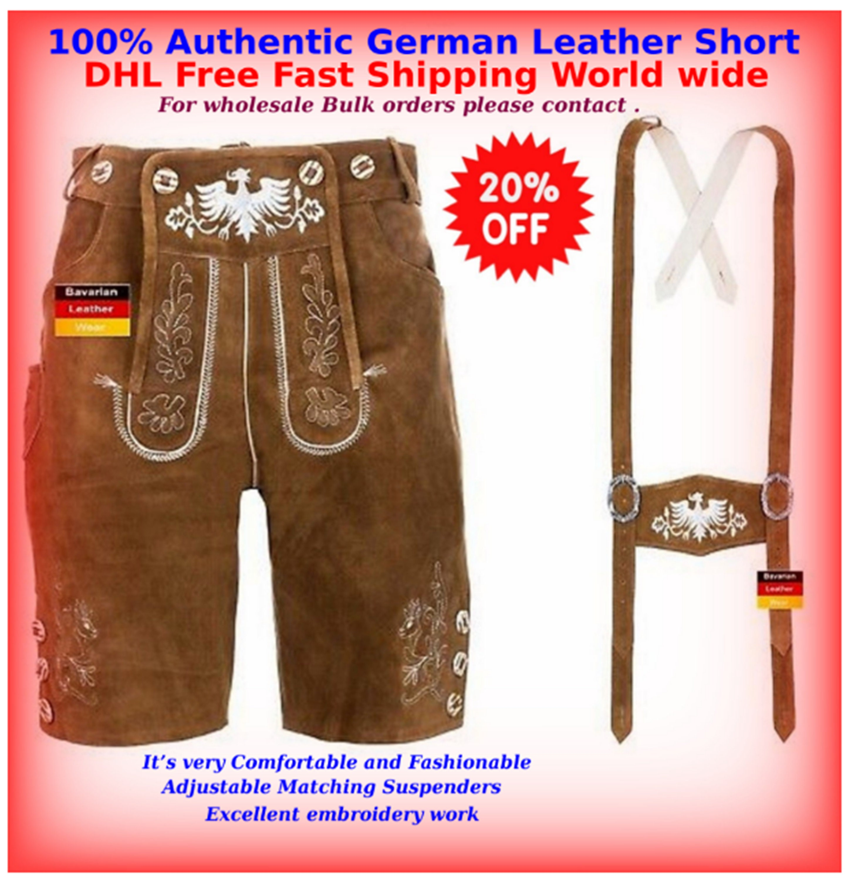 Oktoberfest German Bavarian Authentic leather  Bundhosen brown