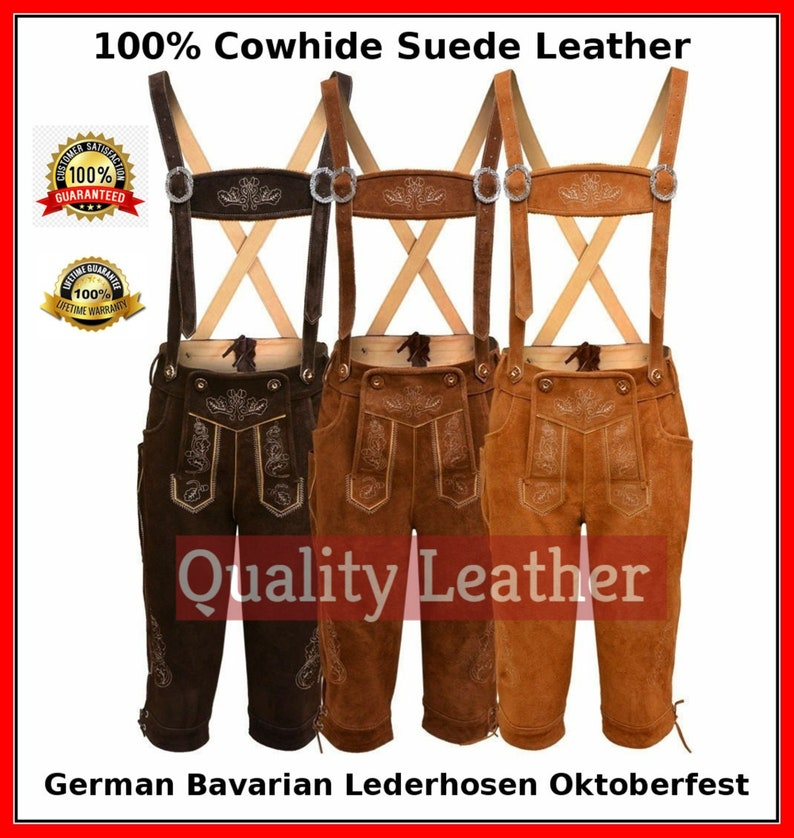 Oktoberfest GERMAN Bavarian LEDERHOSEN with Matching Suspender Synthetic Leather