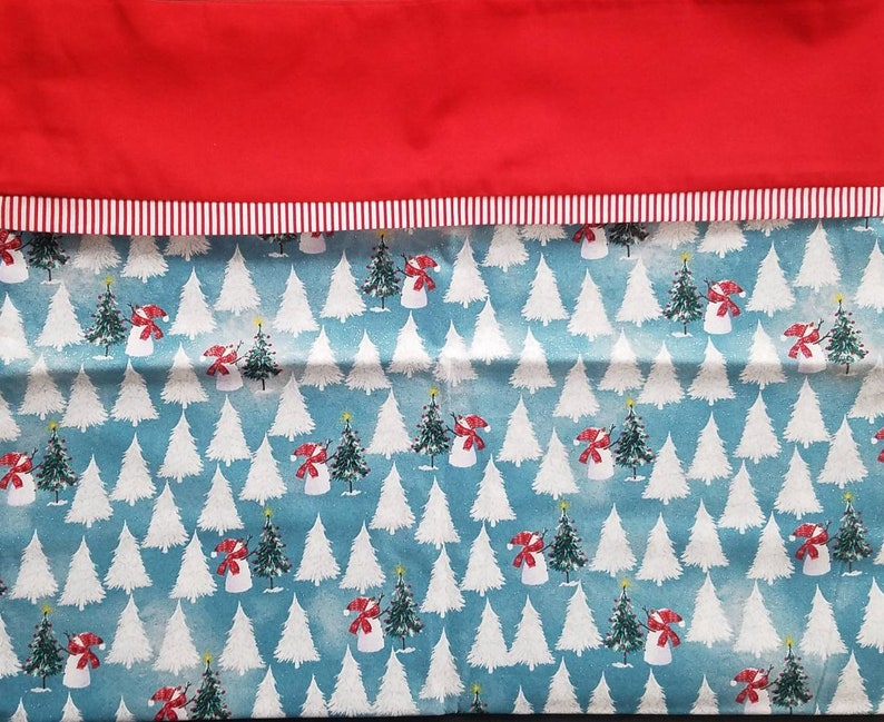 Snowman SOLD INDIVIDUALLY Blue and Red Sparkle Pillowcases and Snowflake Holiday Pillow Cases Christmas Pillows Christmas Tree