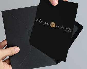 I Love You To The Moon and Back Valentine's Day Card - Real Moon Photograph 5x7 Space Printable Card
