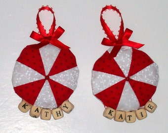 Pinwheel, Peppermint Patchwork Ornament-Plain or Personalized. Approx 4 x 3 x 1/2 inches. MADE TO ORDER