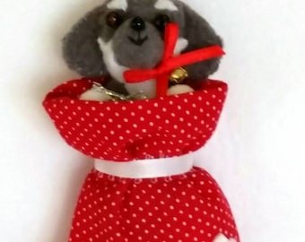 Personalized Puppy/Dog in Bag Ornament.  Approx 5 in tall. Made to Order.