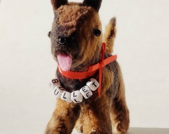 Personalized German Shepard Ornament - MADE TO ORDER - Hand Stitched