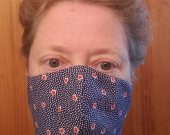 Adult Fashion Face Masks, 11.5 x 5 inch w/loops. Triple Layers. Nose Wire. Custom Orders Welcome.