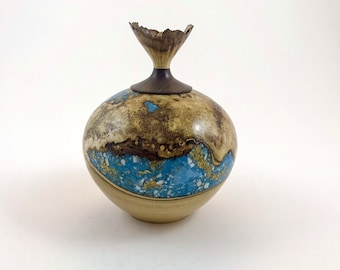 Reserved for Shannon: Wooden urn, cremation urn made of black locust burl, filled with minerals and gold