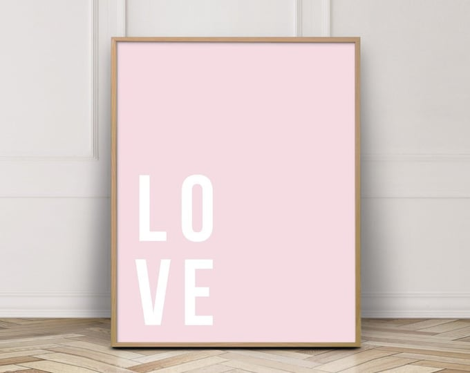 Pale Pink Love Typography Art Print, Wall Art Printable, Bedroom Wall Art