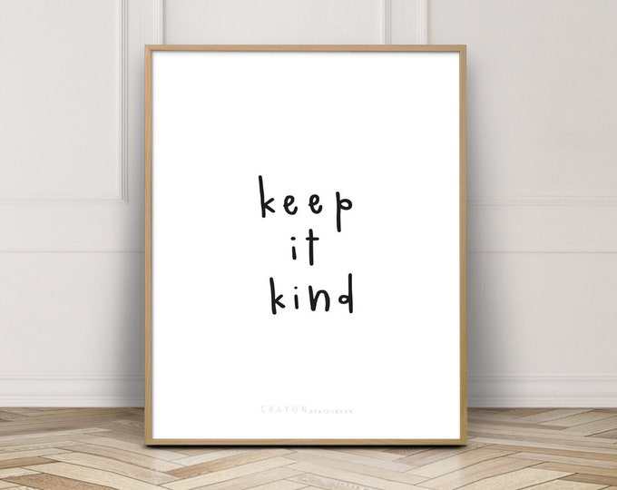 Handlettering Quote, Keep It Kind, Hand Lettering Print, Gallery Wall, Wall Decor, Wall Art, Wall Print, Crayon Stationery Print