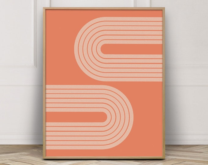 Burnt Orange Modern Art Printable, Geometric Arch Abstract Wall Art Print, Mid Century Rainbow Print