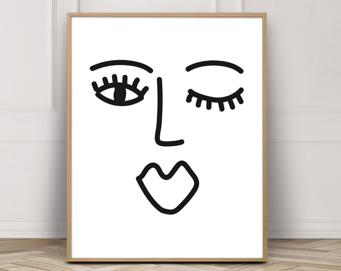 Line Drawing Abstract Face Print, Abstract Black and White Art Print, Line Drawing Digital Art Printable