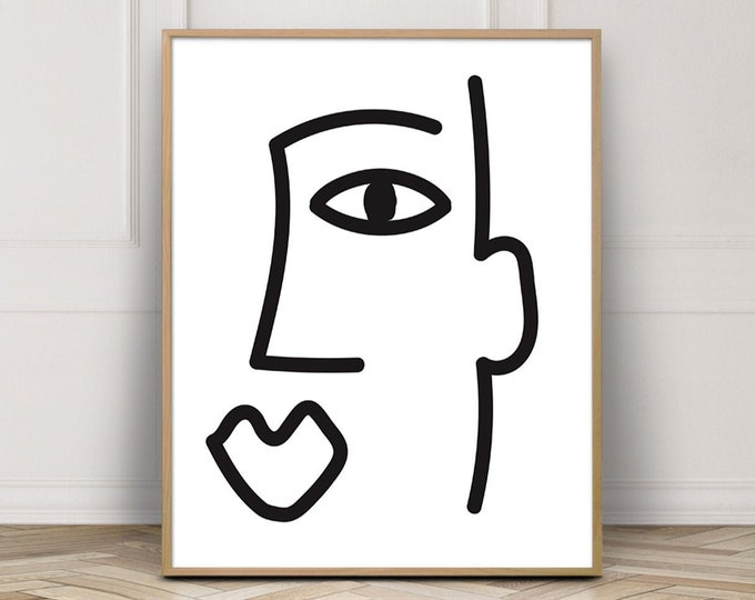 Abstract Face Picasso Style Art Print, Black and White Digital Art Printable, Line Drawing Print