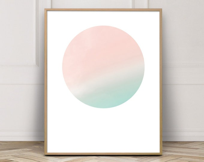 Pink Sky Geometric Wall Art Print, Pastel Pink Bedroom Decor Printable Wall Art, Abstract Art Print