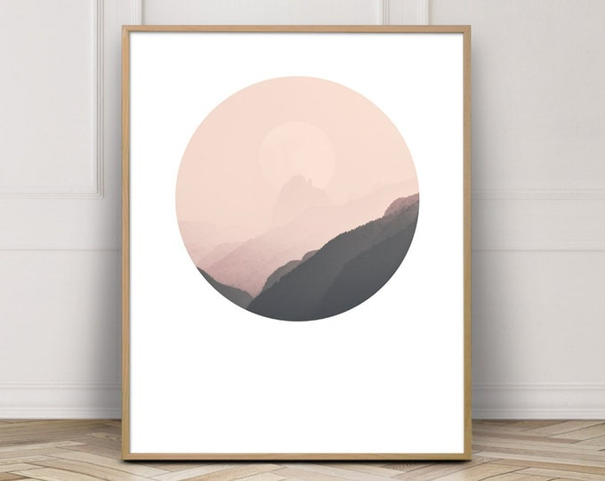 Pink Mountain Wall Art, Minimalist Wall Art Photography Printable, Sunset Wall Art Print