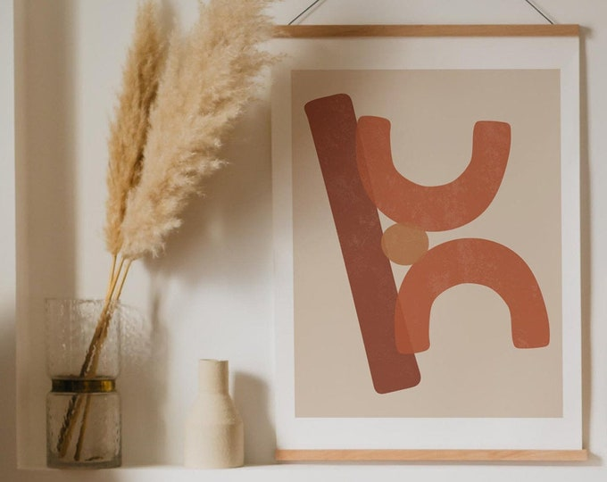 Abstract Shapes Art Printable, Mid Century Modern Geometric Shapes Art Print, Terracotta Wall Art Instant Download, Printable Poster